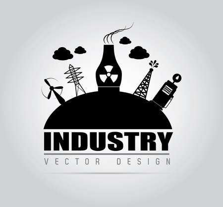 polution: industry design over gray background, vector illustration