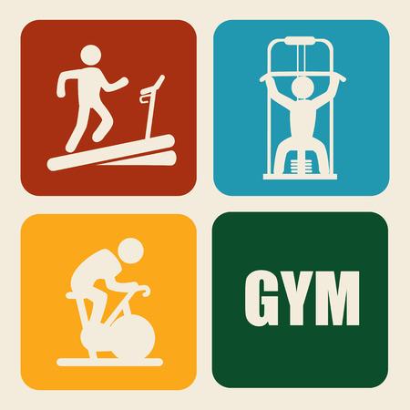 gymnasium: fitness design over beige background, vector illustration