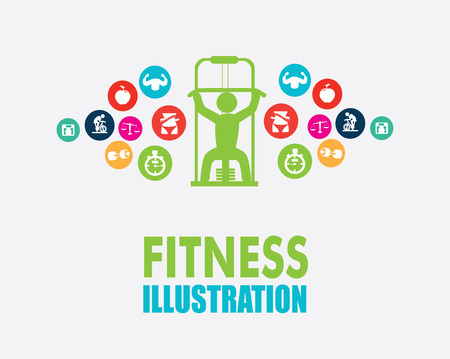 gymnasium: fitness design over gray background, vector illustration