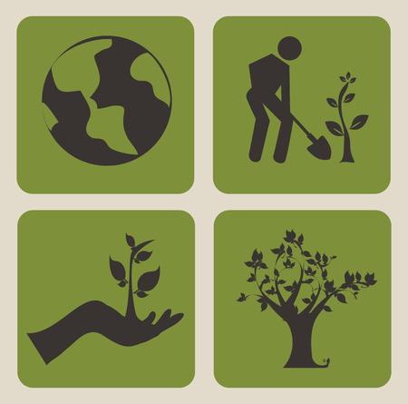 enviromental: eco design over beige background, vector illustration