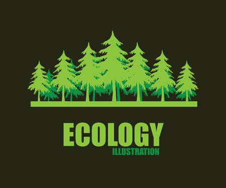 pino: diseño ecológico sobre fondo oscuro, ilustración vectorial