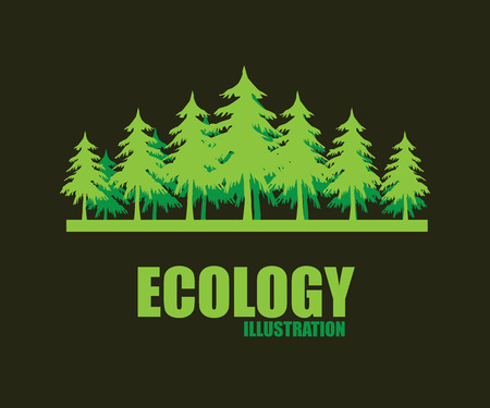 pine tree: eco design over dark background, vector illustration Illustration