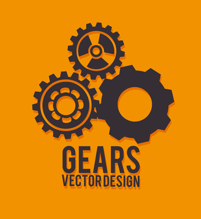 gears design over orange background vector illustration