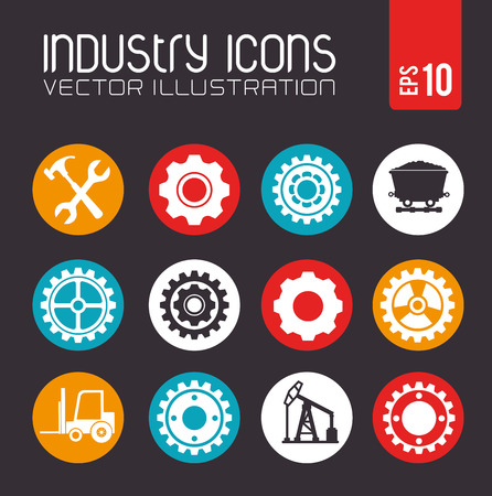 recursos naturales: diseño de la industria sobre fondo oscuro ilustración vectorial