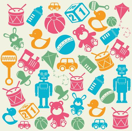 baby speelgoed ontwerp over beige achtergrond vector illustratie