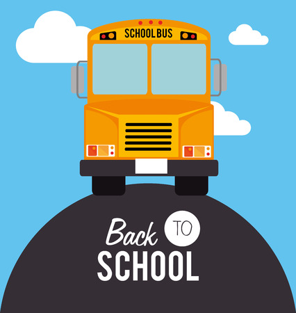 school schedule: back to school over landscape background vector illustration