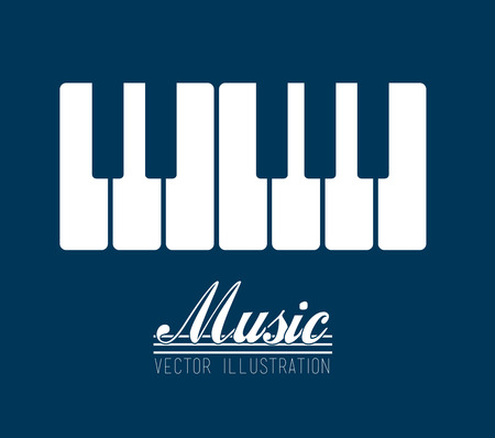 keyboard music: music design over blue background vector illustration