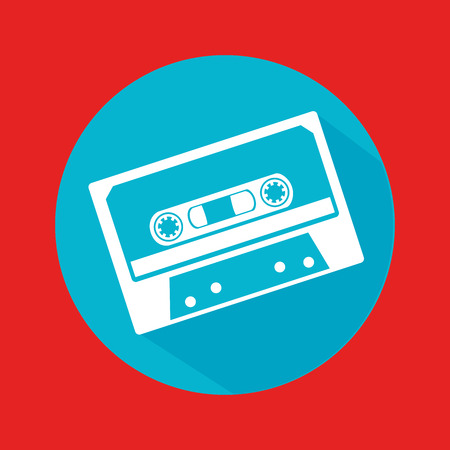 cassette tape: music design over red background vector illustration Illustration