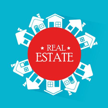 window seal: real estate design over blue background vector illustration Illustration
