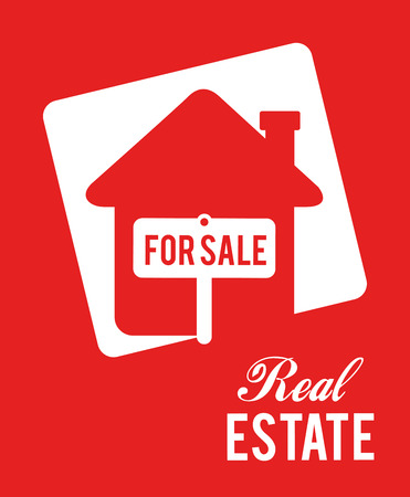 real estate design over red background vector illustration Vector