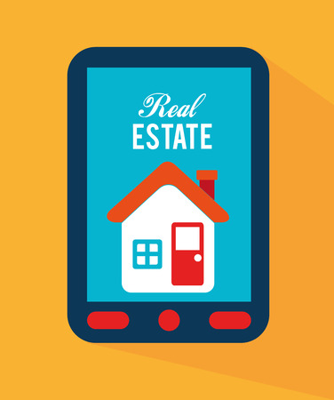ecomerce: real estate design over yellow background vector illustration Illustration