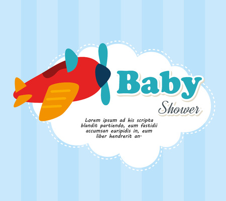 funny baby: baby shower design  over blue stripes background vector illustration Illustration