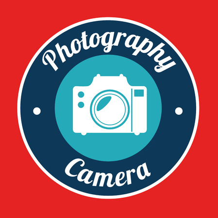 photography design over red background vector illustration Vector