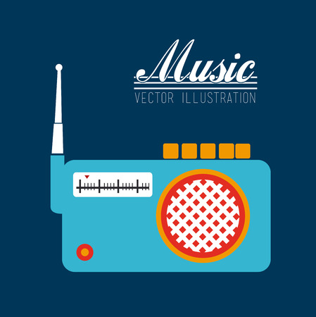 am radio: music design over blue background vector illustration