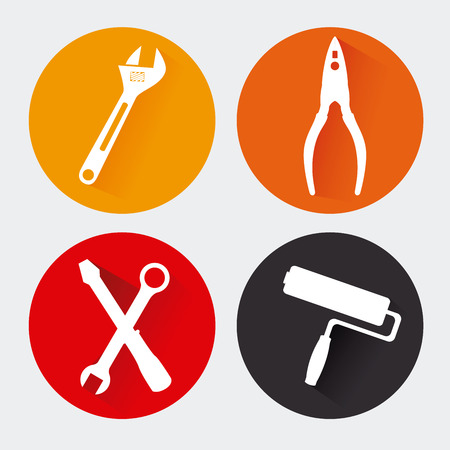 home group: construction tools over gray background vector illustration