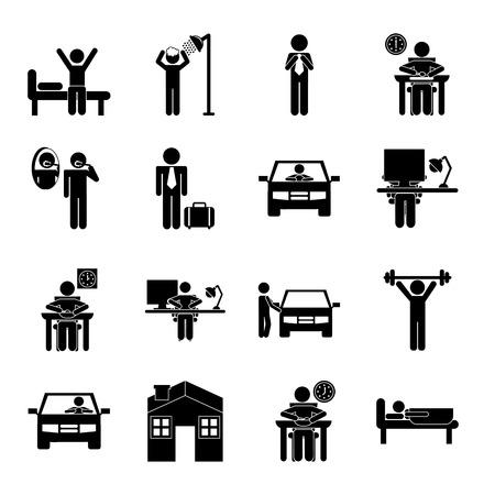 despertarse: rutina diaria más de fondo, ilustración vectorial