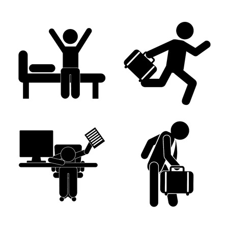 monotony: daily routine over white background, vector illustration Illustration