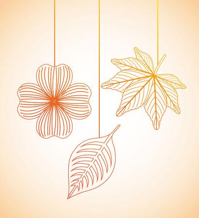 fleurs d'automne conception sur fond orange illustration vectorielle