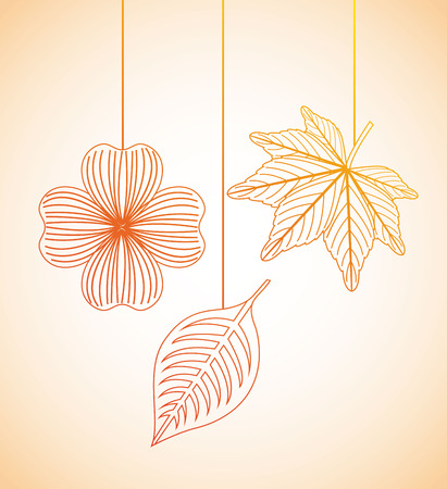 autumn flowers design over orange  background vector illustration   Illustration