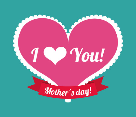 Happy mothers day card over blue background, vector illustration Vector