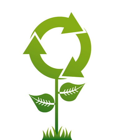 enviromental: Recycle design over white background, vector illustration Illustration