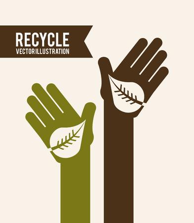 enviromental: Recycle design over beige background, vector illustration