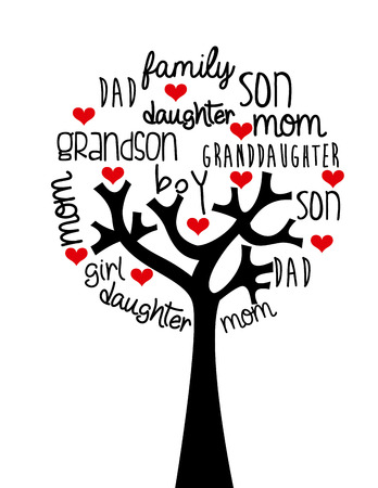 arbol genealógico: diseño de la familia sobre el fondo, ilustración vectorial