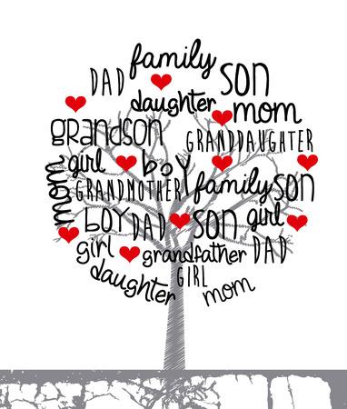 g�n�alogie: conception de la famille sur fond blanc, illustration vectorielle
