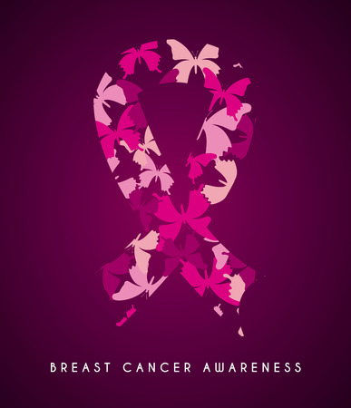 Breast cancer design over purple background, vector illustration Vector