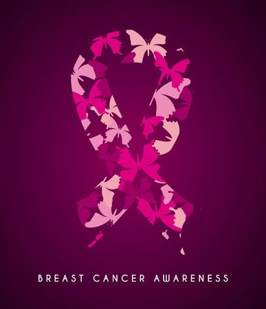 Breast cancer design over purple background, vector illustration
