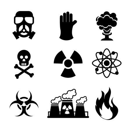 danger zone symbols over blue background, vector illustration Vector