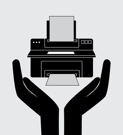 Printer design over gray background, vector illustration Vector