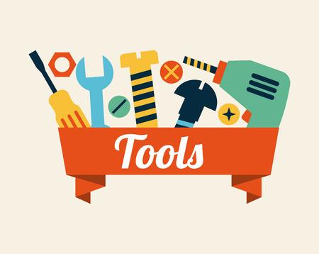 gereedschappen ontwerp over roze achtergrond, vector illustration Stock Illustratie