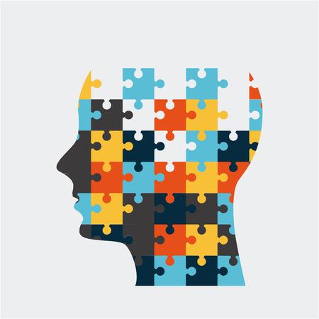 head puzzle over white background vector illustration Vetores