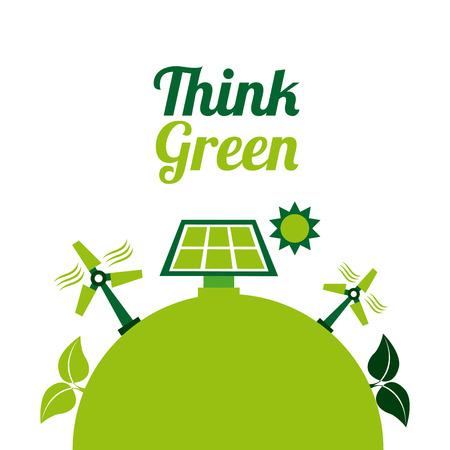 enviromental: eco energy design over white background, vector illustration