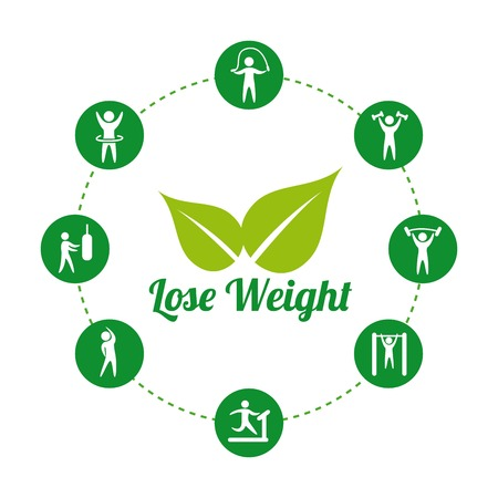 over weight: lose weight over white background, vector illustration