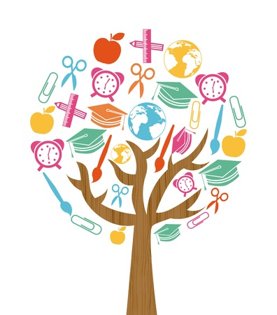 back to school tree design over white background, vector illustration