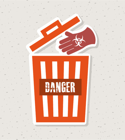 hazardous waste: Danger design over vintage background vector illustration