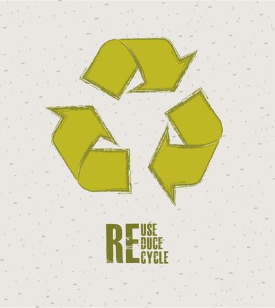 enviromental: Dise�o de reciclaje sobre fondo beige, ilustraci�n vectorial