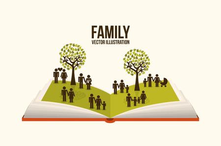 Diseño de la familia sobre el fondo beige, ilustración vectorial Foto de archivo - 26728621