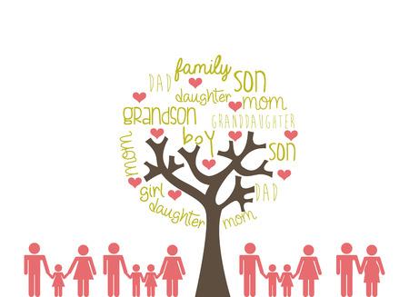 白背景、ベクトル図の上の家族のデザイン