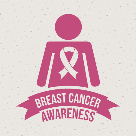 Breast cancer design over beige background, vector illustration Vector