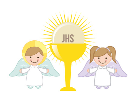 Eucharist design over white background, vector illustration Vector
