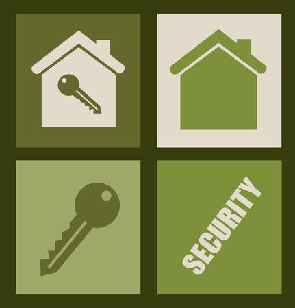 dependable: Home design over green background, vector illustration