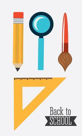 lens brush: back to school design over gray background, vector illustration