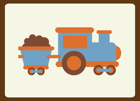 cargo train: Toys  design over brown frame background, vector illustration Illustration
