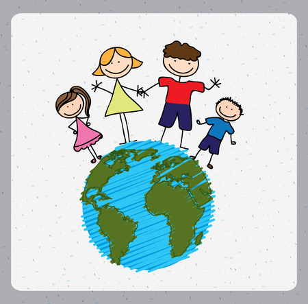 g�n�alogie: conception de la famille sur fond de paysage, illustration vectorielle