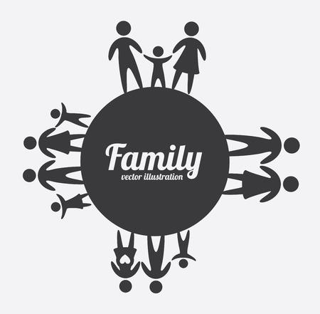 g�n�alogie: conception de la famille sur fond gris, illustration vectorielle
