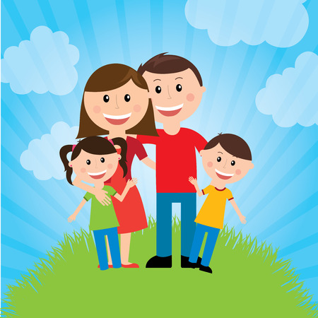 grass family: Family design over landscape background, vector illustration Illustration