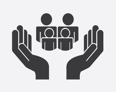 apoyo familiar: Dise�o de Familia sobre fondo gris, ilustraci�n vectorial Vectores